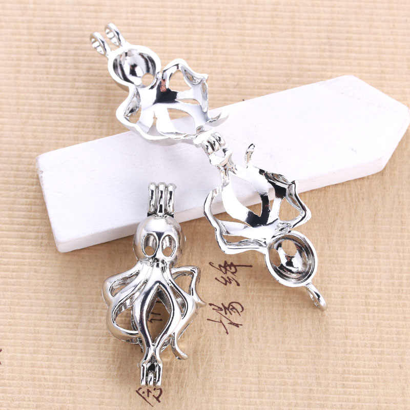 6pcs Bright Silver Octopus Pearl Cage Jewelry Making Supplies Beads Cage Locket Pendant Essential Oil Diffuser for Oyster Pearl