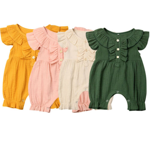 2019 Baby Girl summer clothing cotton Sleeveless Button   Romper   Puff Jumpsuit Outfit for Kid clothes toddler Children newborn