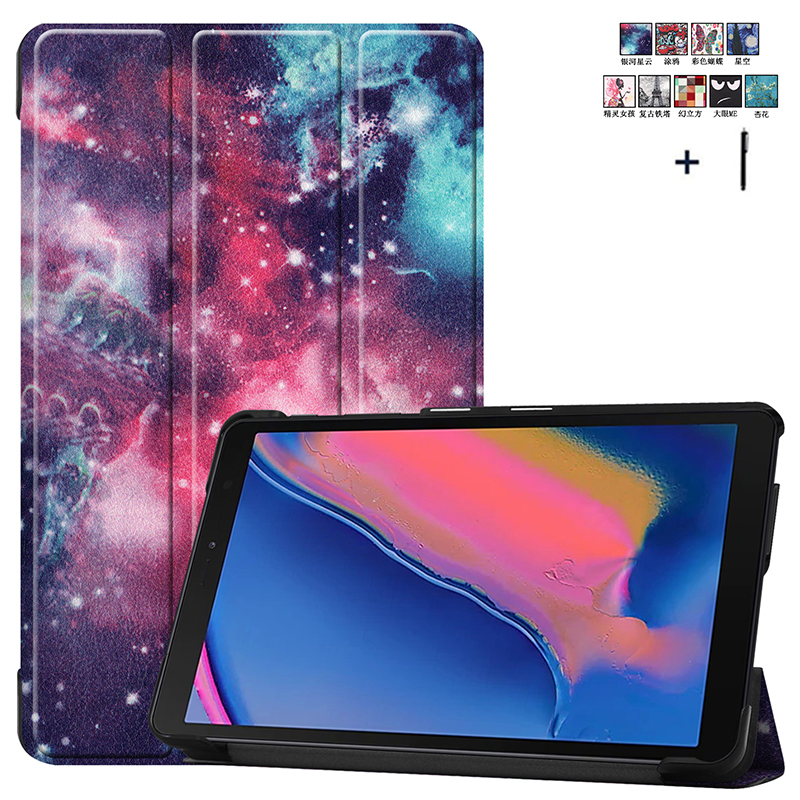 Print Smart Wake Sleep Case For <font><b>Samsung</b></font> Galaxy Tab A 8.0 P200 <font><b>P205</b></font> SM-P200 SM-<font><b>P205</b></font> Magnet Flip PU Leather Capa Fundas+Stylus image