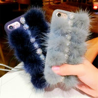 For IPhone 6 6S 7 Plus Luxury Girl S Fashion Cute Colorful Plush Fur Ball Phone