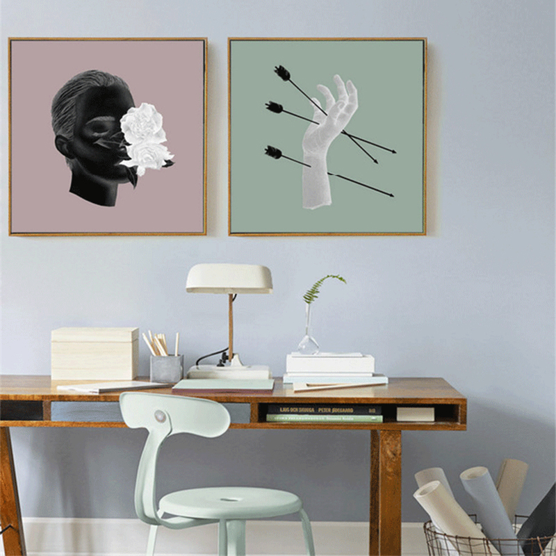 HAOCHU Arrows Through Hand Man Head Arts Picture Aesthetic Craft Canvas Painting for Home Decor Coffee Shop Poster On Wall Полка