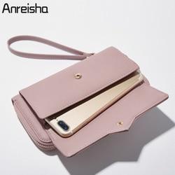 Anreisha moda longa mulher bolsa novo designer feminino carteira de embreagem couro do plutônio das senhoras bolsas titular do cartão sacos telefone feminino p2