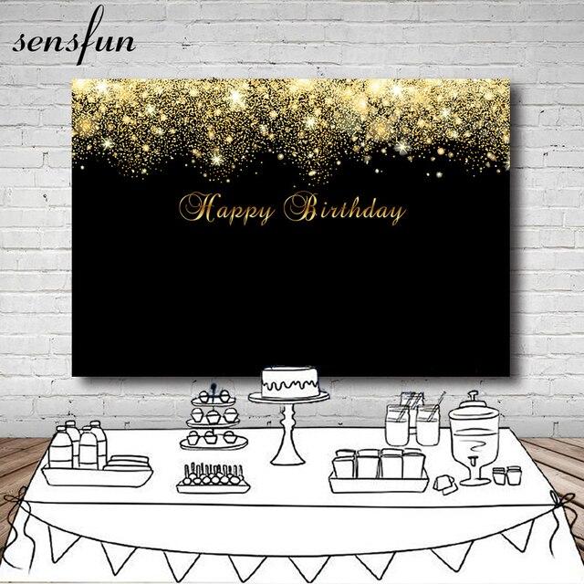 d3d699e6b Sensfun brillante del brillo del oro fondo negro Feliz cumpleaños partido  fondos para estudio fotográfico 7x5ft