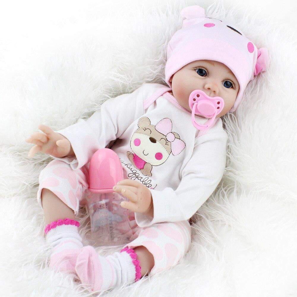NPK poupée Reborn 55 CM Silicone souple Reborn bébé poupées vinyle jouets grandes poupées pour filles 3-7 ans bébé poupées avec Blouse tissu