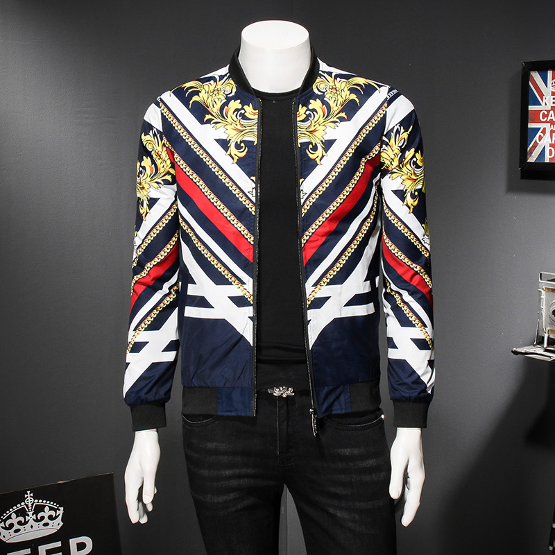 Gold Baroque Stripe Flower Mens Bomber Jackets Party Club
