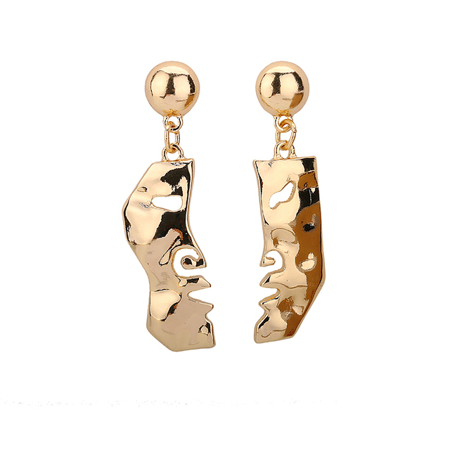 2017 New Chic Abstract Alloy Gold Tone Face Dangle Earrings For Women Fashion Mask Earrings Girls Bijoux