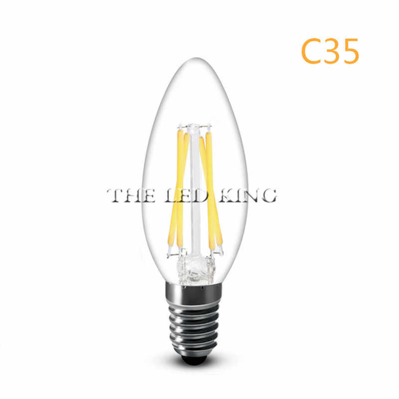 E14 COB LED Candle Lamp C35 B10 2w 4w 6w 12w Flame Frosted LED Filament Bulb light 220v 230v AC Crystal chandelier light source