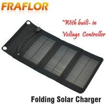 5.5v 5w portátil folding painel solar carregador de bateria usb saída com build in tensão controlador pacote para telefones psp mp4