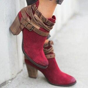 Image 4 - Fanyuan outono inverno botas de tornozelo das senhoras casuais sapatos martin botas de camurça fivela de couro botas de salto alto zíper botas de neve