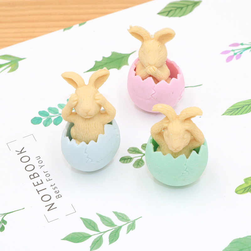 1 Pcs Creative Lovely Eggshell Rabbit Rubber Environmental Protection Rubber Student Stationery Rubber Wholesale Source