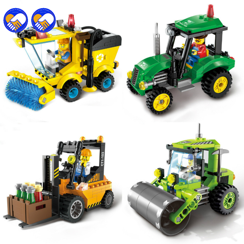 A toy A dream City Series Forklift Truck Tractor Sweeper Truck Construction Road Roller Building Block Kids Toy with lepin City linde forklift lindos truck diagnostic software