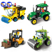 A toy A dream City Series Forklift Truck Tractor Sweeper Truck Construction Road Roller Building Block Kids Toy Legoingly City(China)