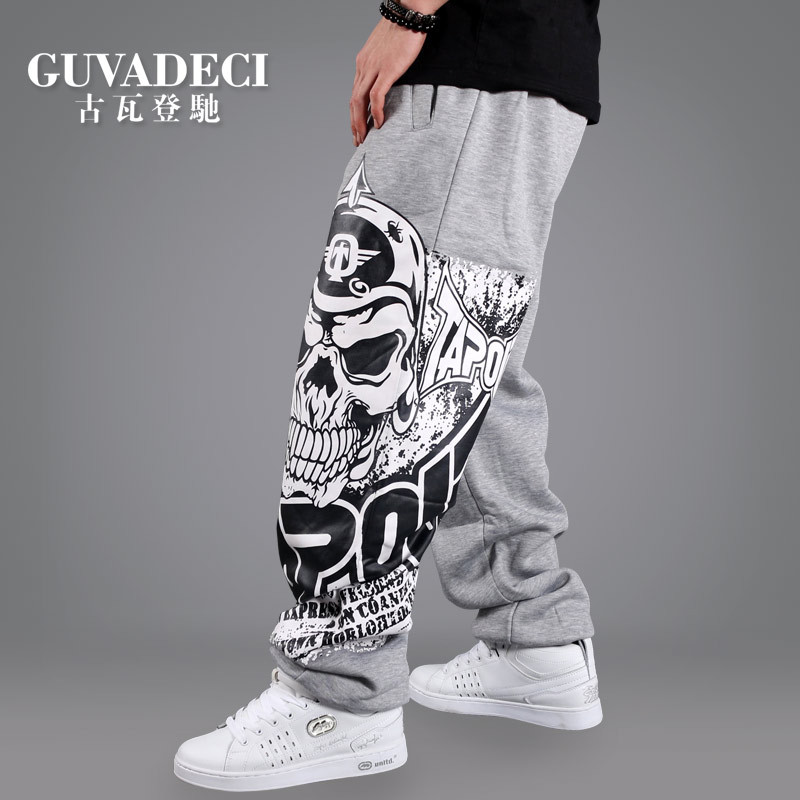 2017 Men Hip Hop Pant Loose Street Dancing Long Trousers Skull Print Rock and Roll Punk Baggy Parkour Skateboard Sweat pant Men