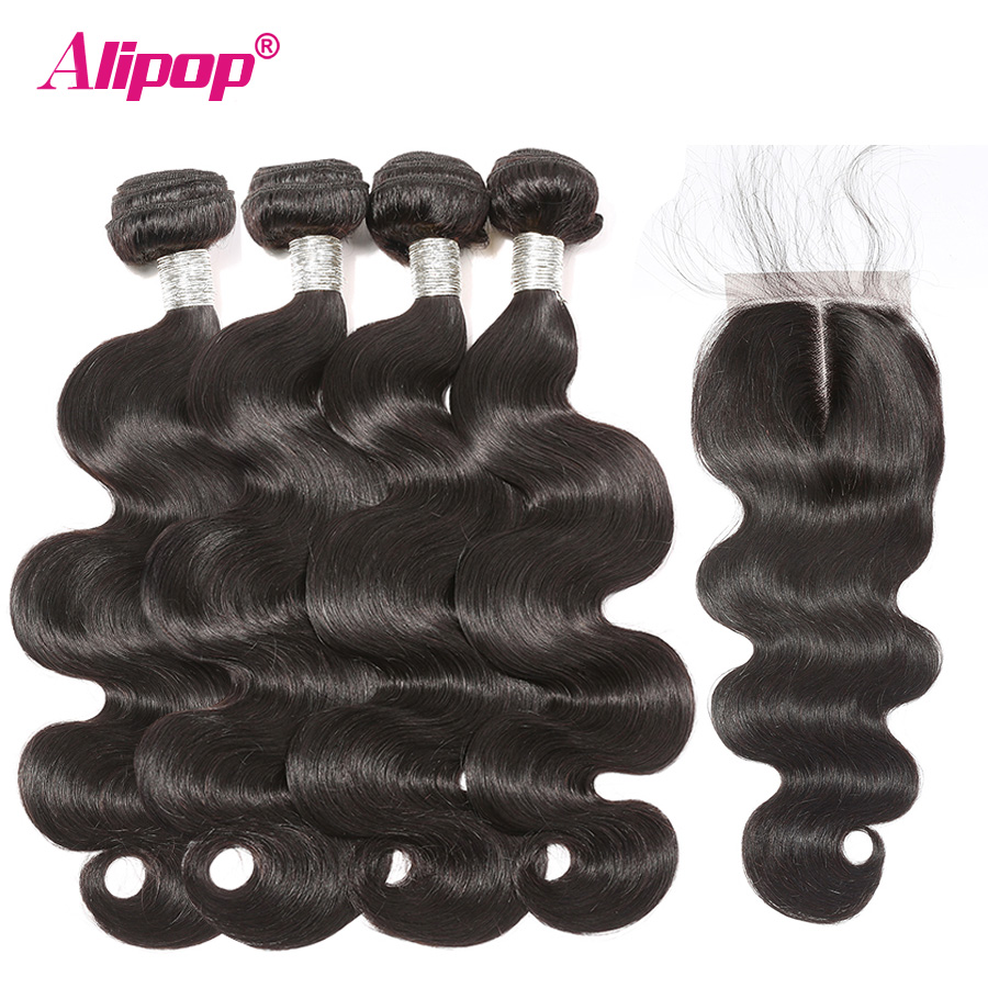 Body Wave Bundles With Closure Peruvian Hair Bundles With Closure Alipop Remy Human Hair 4 Bundles