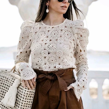 Beige lace knitted Blouse 1