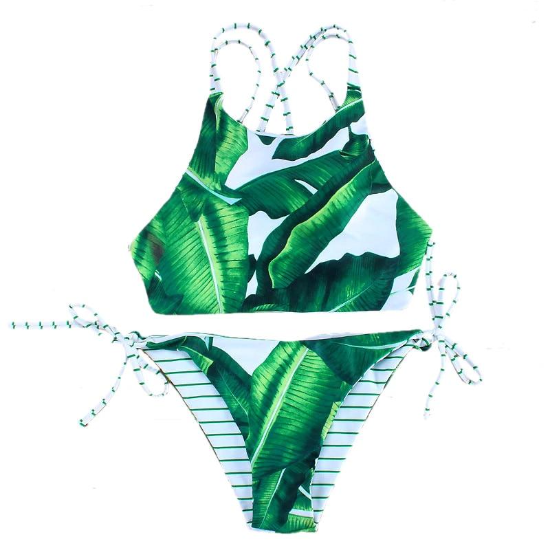 Seksi Yeşil Yapraklar Çizgili Döner Bikini Kadın Mayo 2017 Mayo - Spor Giyim ve Aksesuar - Fotoğraf 1