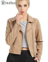 Hoffen Hot Sale Faux Leather Jacket Women Turn Down Collar Zipper Suede Biker Jacket Fashion Casual