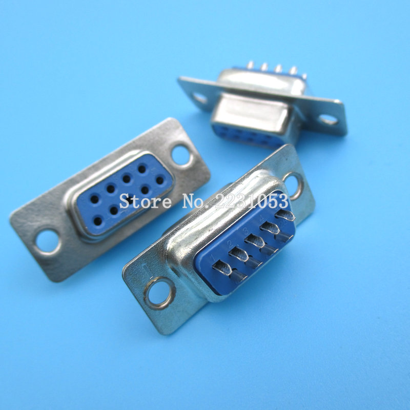 10pcs/lot New RS232 Serial Port Connector DB9 Female Socket/Plug Connector 9pin Copper RS232 COM Socket Adapter