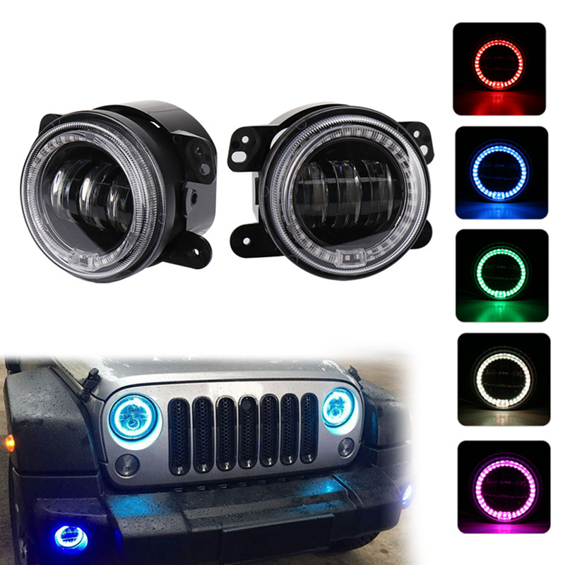 KaTur 4 Inch 60W LED Fog Lights with RGB Halo for Jeep Wrangler JK JKU TJ LJ Edition Rubicon Sahara Unlimited For Dodge axial jeep wrangler unlimited c r edition 4wd rtr