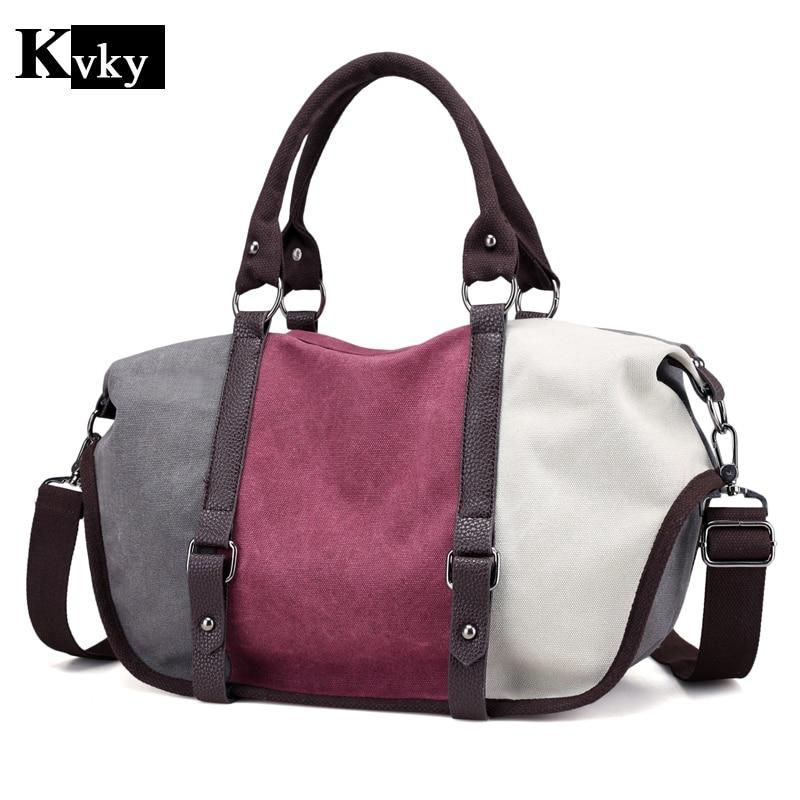Canvas Women Bag Casual Women Messenger Bags Vintage 3 Color Patchwork Designer Women Crossbody Bags Big Woman Shoulder Bags  цена