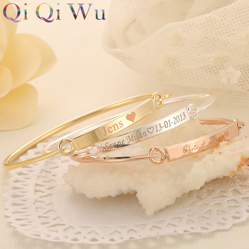 Drop Shipping Gold Bangle Bar Bracelets Custom Engraved Name Bracelet Personalized Initials Bangles for Women Jewelry Girls Gift