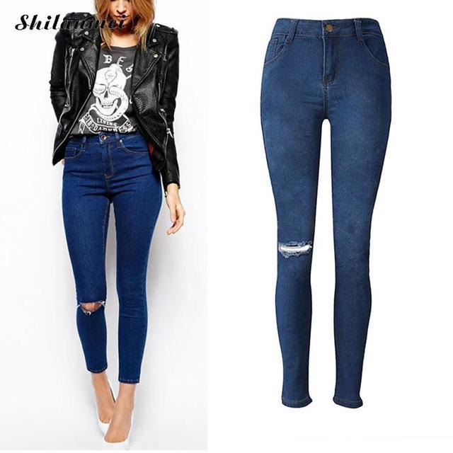 d61f72e1eb Mujeres agujero rasgado Skinng 2018 alta cintura elástica señoras moda  estilo americano moda lápiz pantalones vaqueros