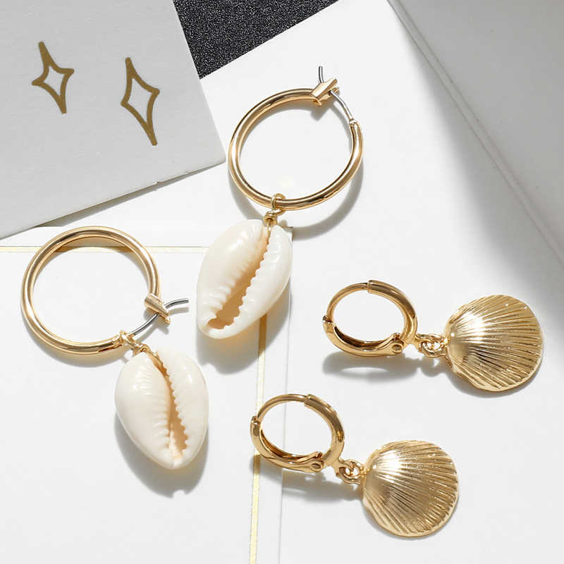Delle Donne di modo di Stile Della Boemia Oro Delle Stelle Marine Conchiglia Cowary Borsette Grande Cerchio Orecchini a pendaglio di Alta Qualità Borsette Ciondola Gli Orecchini