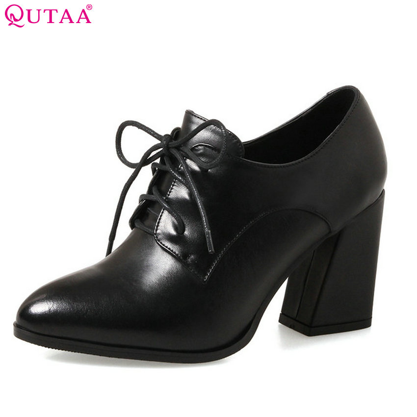 QUTAA 2018 Women Pumps Fashion Platform Women Shoes Lace Up Pointed Toe Leisure Genuine Leather +pu Women Pumps Szie 34-39 fashion women s pumps with engraving and pu leather design