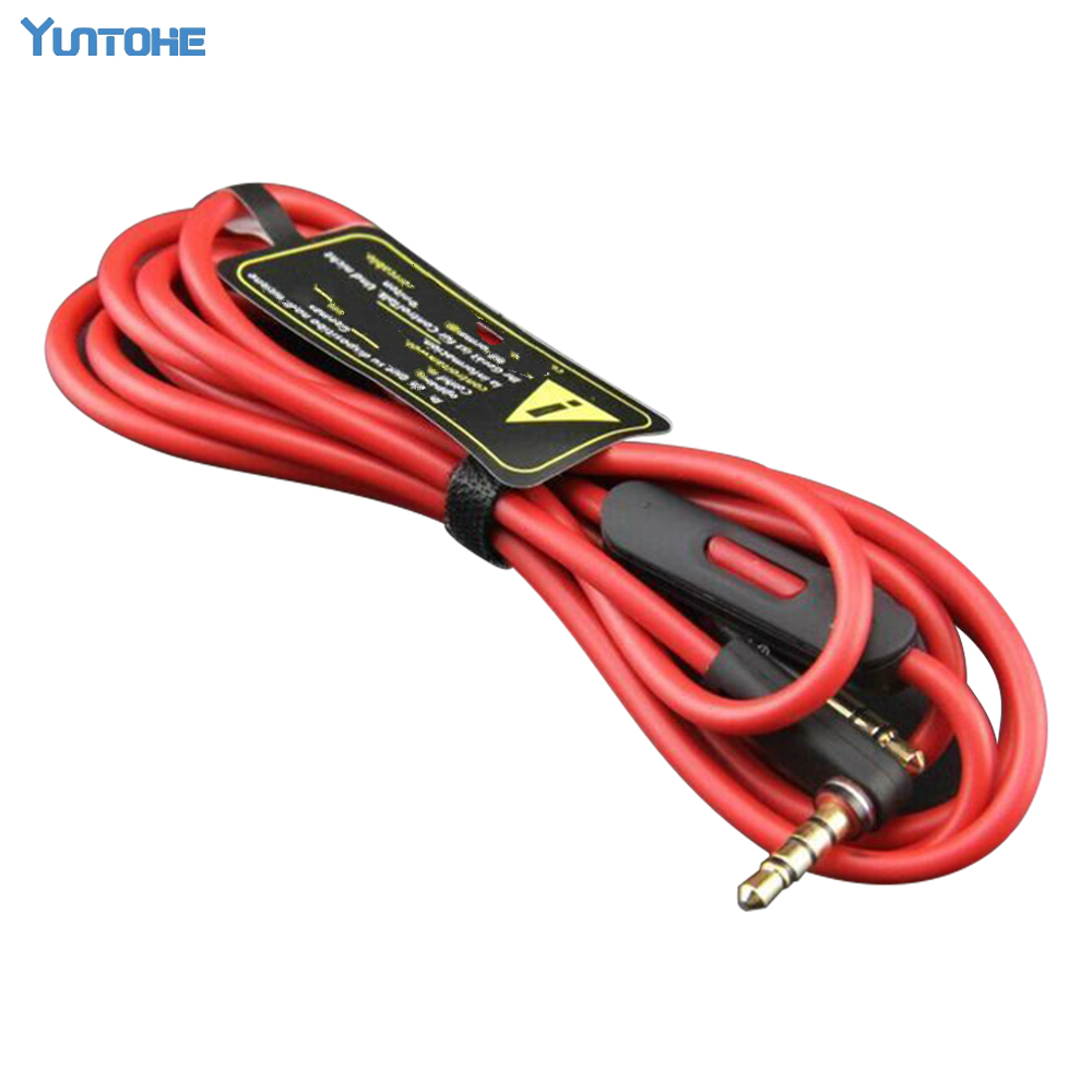 Wholesale Red 3 5MM Control Talk Cable Aux Cable For Headphones Studio Solo Pro Replacement Mic