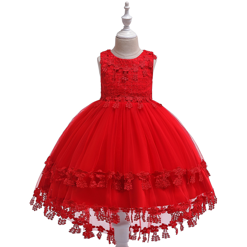 Ballgown Lace Red Kids Formal Wear Princess Birthday Gowns   Dresses   for 3-10 Year First Communion   Dresses
