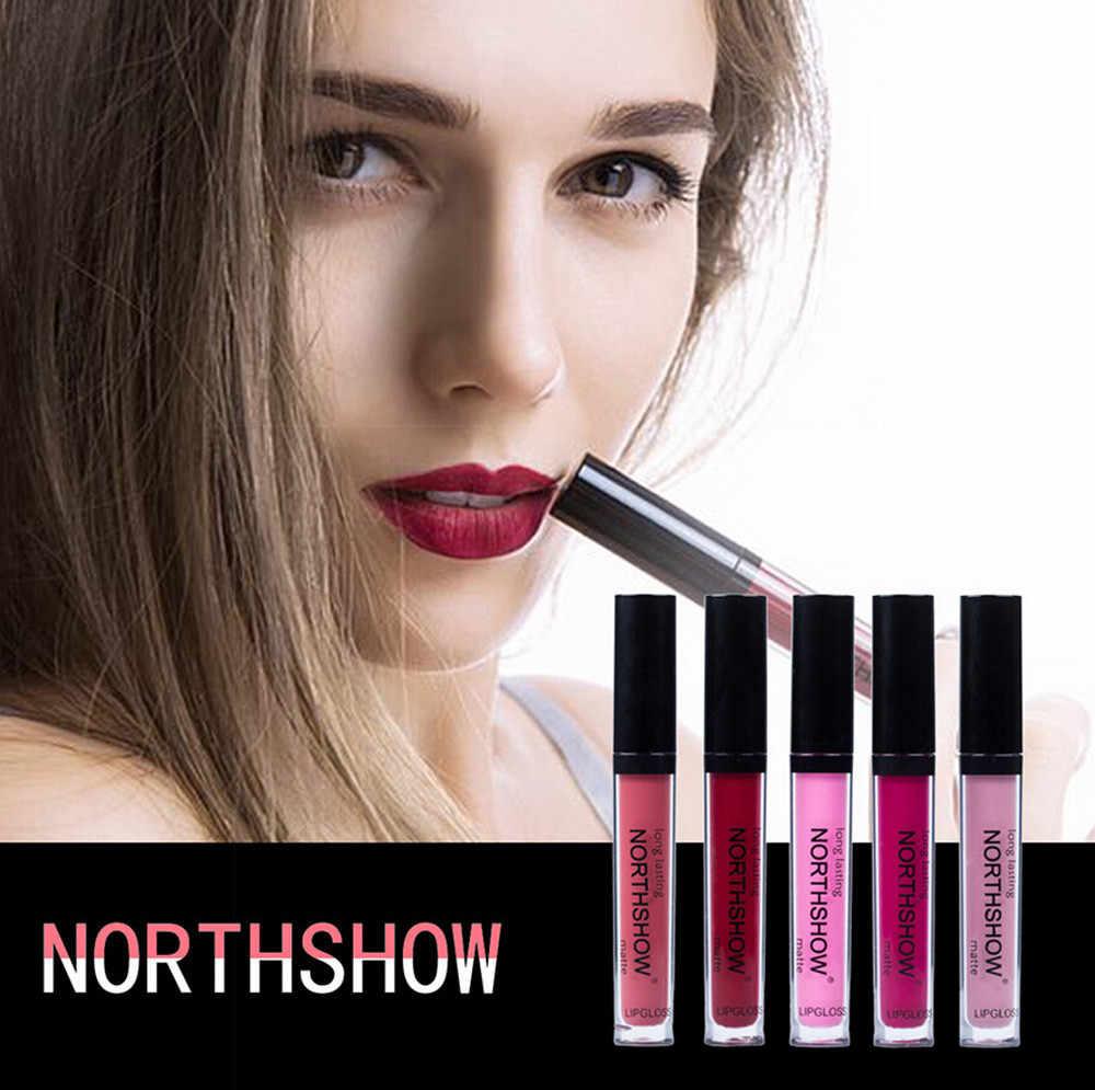 Nueva moda de NORTHSHOW sexy terciopelo lápiz labial líquido crema hidratante de terciopelo vintage desnudo brillant labial cosméticos maquillaje belleza # ¿