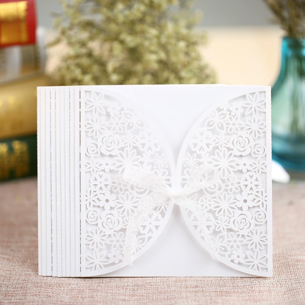 10 unids/set boda romántica tarjeta de invitación delicado tallado ...