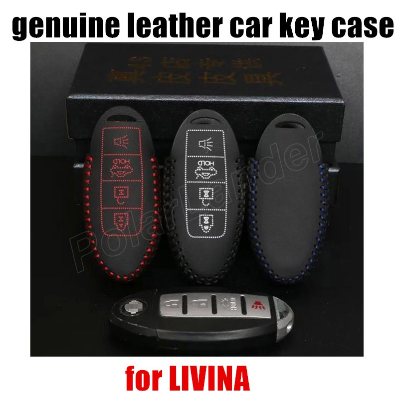 Only Red hot sale car key case leather hand sewing car key cover fit for NISSAN SUNNY QASHIQAI TIIDA TIIDA LIVINA TEENA