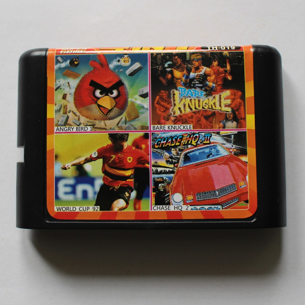 Chase HQ 2/ WorldCup 92/ Bare Knuckle/ AngryBird 16 bit MD Game Card For Sega 16bit Game Player
