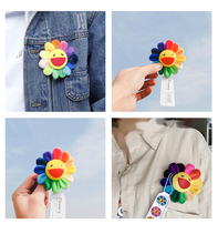 Popular smile cartoon sunflower plush toys creative Brooches stuffed small pendant Fashion Toy Collections