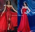 Increíble Vestidos atractivos de la celebridad Miss universo perlas de un hombro embelleció la raja del lado baile Vestidos Vestidos noche Vestidos XY341