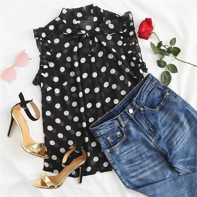 Ruffle Tied Neck Bow Polka Dot Blouse With Stand Collar Sleeveless Sexy Top 2018 Summer