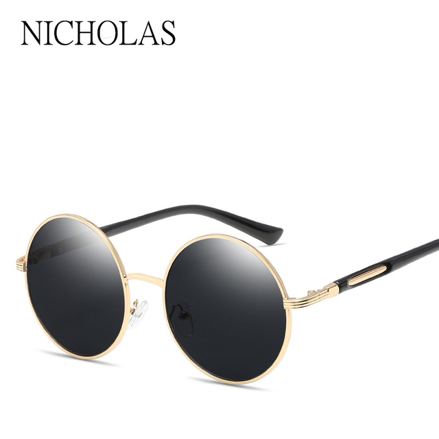 7b16439df7094 NICHOLAS 2017 rétro rond lunettes De Soleil femmes marque Designer femme  miroir lunettes De Soleil dames