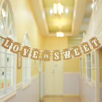 2016 NEW ARRIVAL Brown Paper Wedding Party Decoration Love Is Sweet Party Banner Bridal Shower Favors