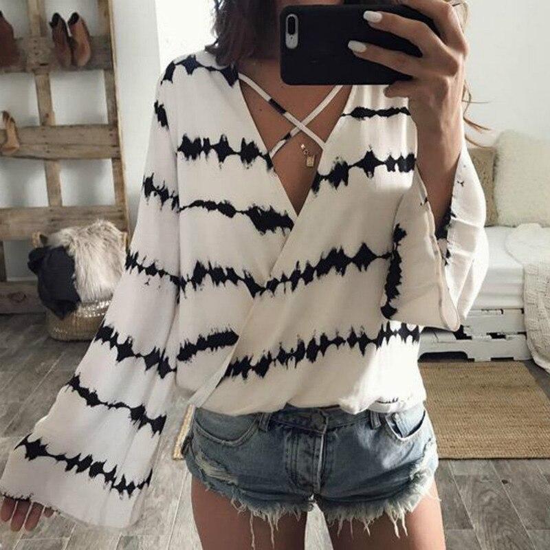 Party Imprimer Lâche Summer Club Blanc En Shirts Bandage Femmes Pour Longues Manches V Shirt Col Mousseline Tenues Mode Chemisier Vêtements Tops w68OqICC