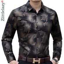Новинка, дизайнерские мужские рубашки с длинным рукавом в виде кленового листа, приталенная винтажная модная мужская рубашка, мужская одежда из Джерси, 36565