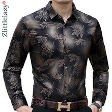 2020 新社会長袖カエデの葉デザイナーシャツメンズスリムフィットヴィンテージファッションの男性のシャツの男ドレスジャージ服 36565カジュアル シャツ