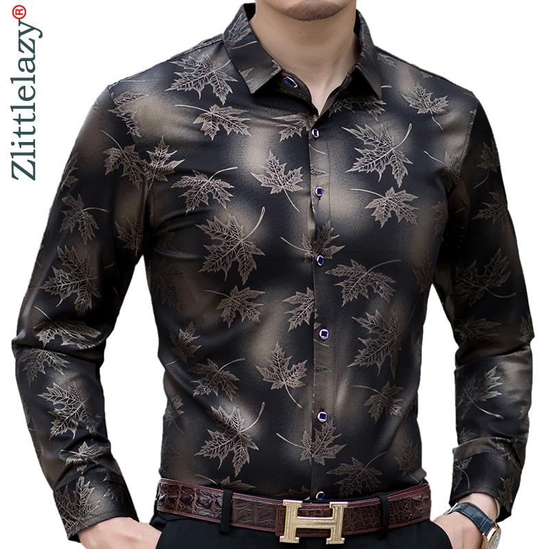 2020 New Social Long Sleeve Maple Leaf Designer Shirts Men Slim Fit Vintage Fashions Men's Shirt Man Dress Jersey Clothing 36565