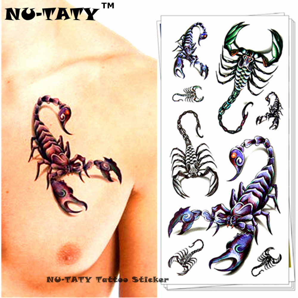 Nu-TATY Scorpion King 3d Templat Tatu sementara Seni Sticker Tatu Flash 19 * 9cm Tatu palsu Tatoo Home Decor Wall Sticker