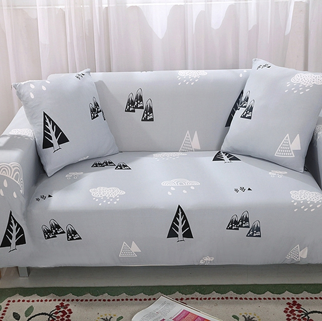 Grey Couch/Corner Sofa Covers Trees Pattern Printing L Shape Sofa Covers  Multi Size