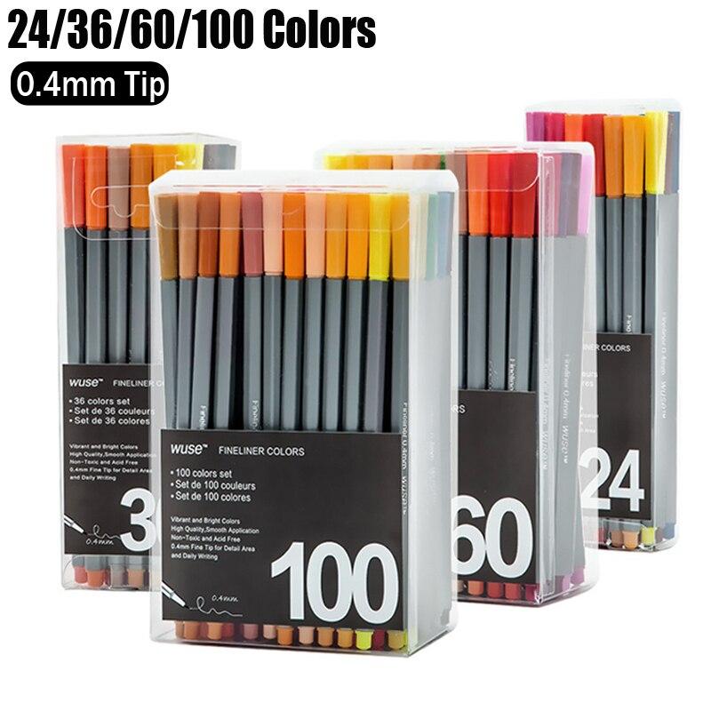 100 Colori Gel Penna Set a base di Acqua 0.4mm Fine Point Penna di Linea Gel di Disegno Schizzo Marcatori Caneta Stylo Kawaii Materiale Scolastico