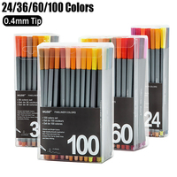 100 Colors Gel Pens Set 0 4mm Water Based Fine Point Liner Pen Sketch Drawing Markers