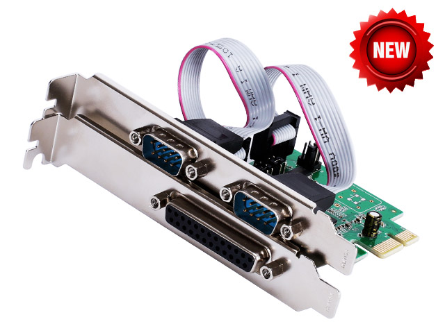 PCI-e Combo 2 Serial + 1 Parallel IEEE 1284 Controller card PCI express to RS232 com + printer LPT port adapter Moschip win10 контроллер pci e 2 com купить минск