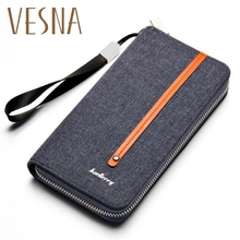 Baellerry Fashion Coin Purse Men Long Wallet Card Canvas Zippered Hand Bag Retro Youth Large