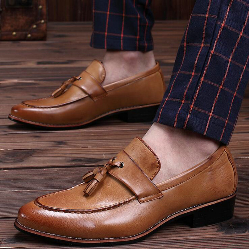 Big Size 47  New Fashion Elegant Oxford Shoes Men Tassel Leather Italian Formal Dress Office Loafers Dress Business Shoes OO-53